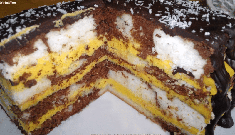Симпатичный и вкусный бисквитнай торт