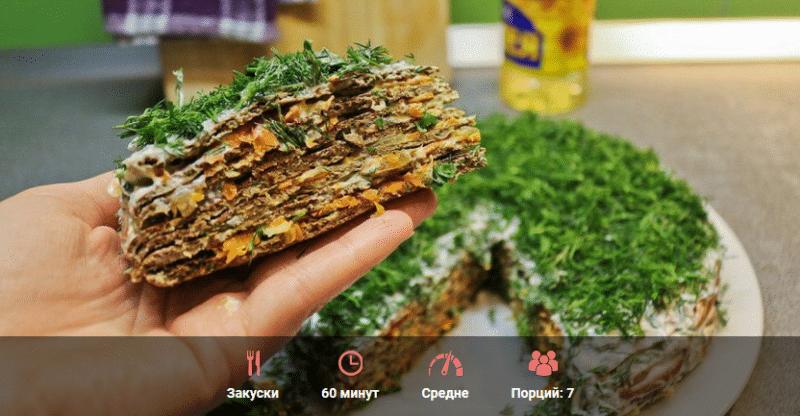 Печеночный торт с грибами, морковью и луком (рецепт с куриной печенью)